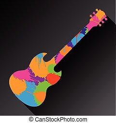 gitarr, abstrakt, färgrik, bakgrund