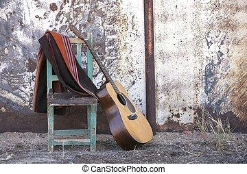 gitarr, akustisk, stol, böjelse