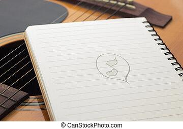 gitarr, anteckningsbok