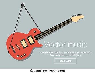 gitarr, begrepp, musik, elektrisk, vektor