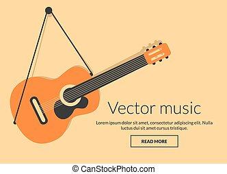 gitarr, begrepp, musik, vektor, klassisk