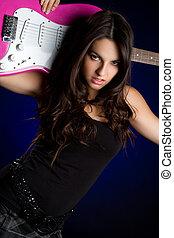 gitarr, flicka