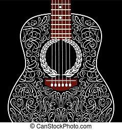 gitarr,  grungy, svart, bakgrund, akustisk