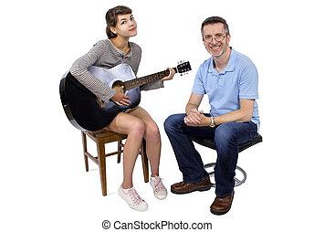 gitarr, klassificerar, musik