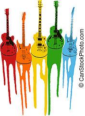 gitarr, musik, färgrik