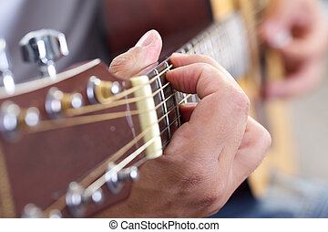 gitarr, nära, Uppe