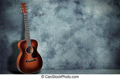 gitarr, vägg, grunge, bakgrund