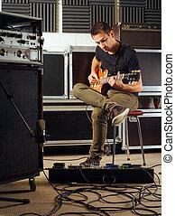 gitarre, üben, in, der, studio