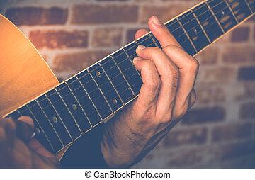 Gitarre, Bild,  closeup, kaukasier