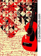 gitarre, bunter , musik, abbildung
