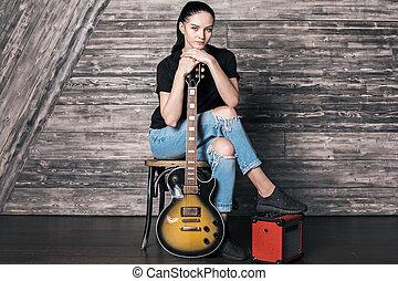 gitarre, frau, attraktive, kaukasier