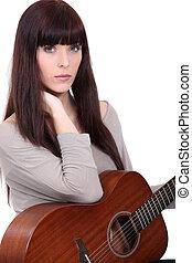 gitarre, frau besitz, prächtig