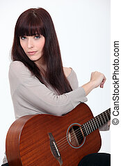 gitarre, frau, spielende