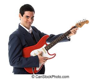 gitarre, geschäftsmann