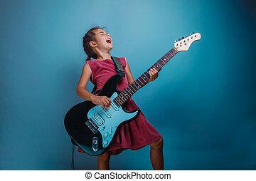 gitarre, jugendlich, elektrisch, m�dchen, spielende
