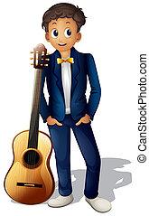 gitarre, junge, neben, stehende