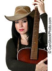 gitarre, land, frau, akustisch