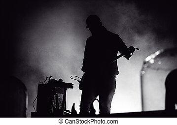 Gitarre, Lichter, buehne,  silhouette, Spieler
