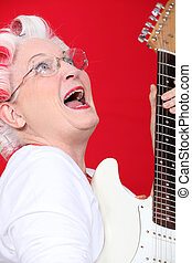 gitarre, lockenwickler, frau, altes