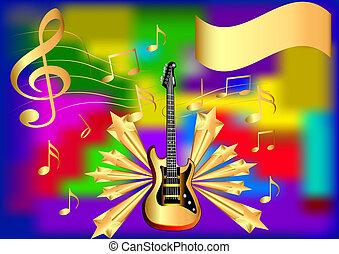gitarre, merkzettel, stern, hintergrund