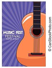 gitarre, musik, akustisch, plakat, fest