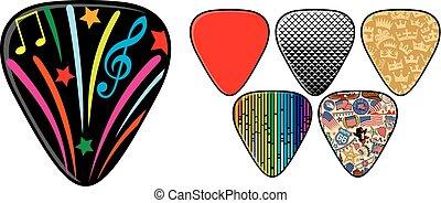 gitarre, plectrums, oder, spitzhacken