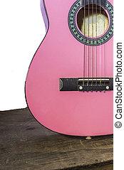 gitarre, propped, vor, a, weiße wand, als, hintergrund