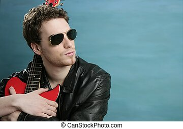 gitarre, rockstar, mann, sonnenbrille, lederjacke