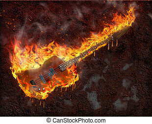 gitarre, schmilzender , brennender