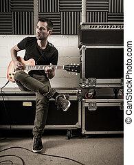 gitarre spielen, in, der, studio