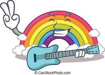 gitarre spielen, regenbogen, design, musiker, karikatur, begabt