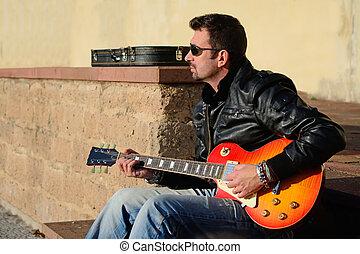 gitarre spieler, an, sonnenuntergang