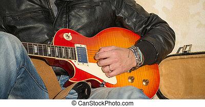 gitarre spieler, aufschließen