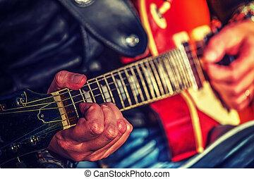gitarre spieler, hände