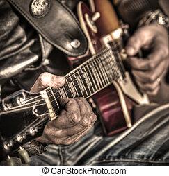 gitarre spieler, in, hdr