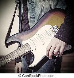 gitarre spieler, in, weinlese, ton