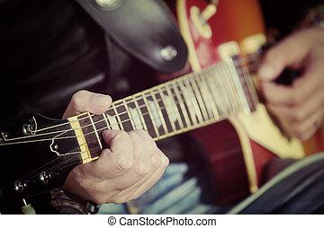 Gitarre, Spieler, Ton, Weinlese