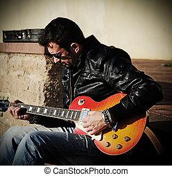 gitarre spieler, treppe