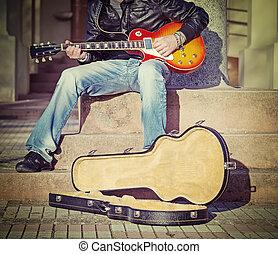 gitarre spieler, treppe, in, weinlese, ton