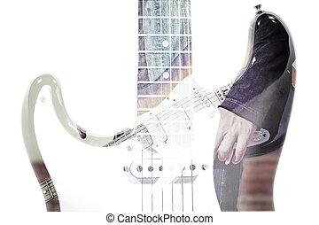 gitarre spieler, und, gitarre, silhouette, in, doppelte belichtung, effekt