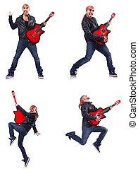 gitarre spieler, weißes, freigestellt