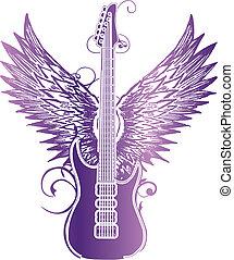 gitarre, stammes-, flügel