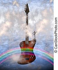 gitarre, tänzer, baß