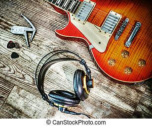 gitarre, und, kopfhörer, in, hdr