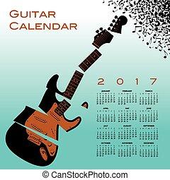 gitarre, zerrissen, 2017, kalender