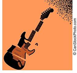 gitarre, zerrissen, musik, hintergrund