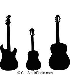 gitarrer, kollektion, -, vektor