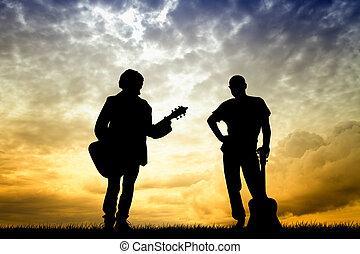 gitarrist, an, sonnenuntergang