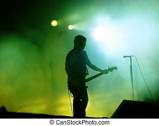 gitarrist, buehne