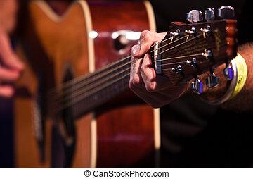 gitarrist, hand, mit, ein, klassische gitarre, -, scharfer...